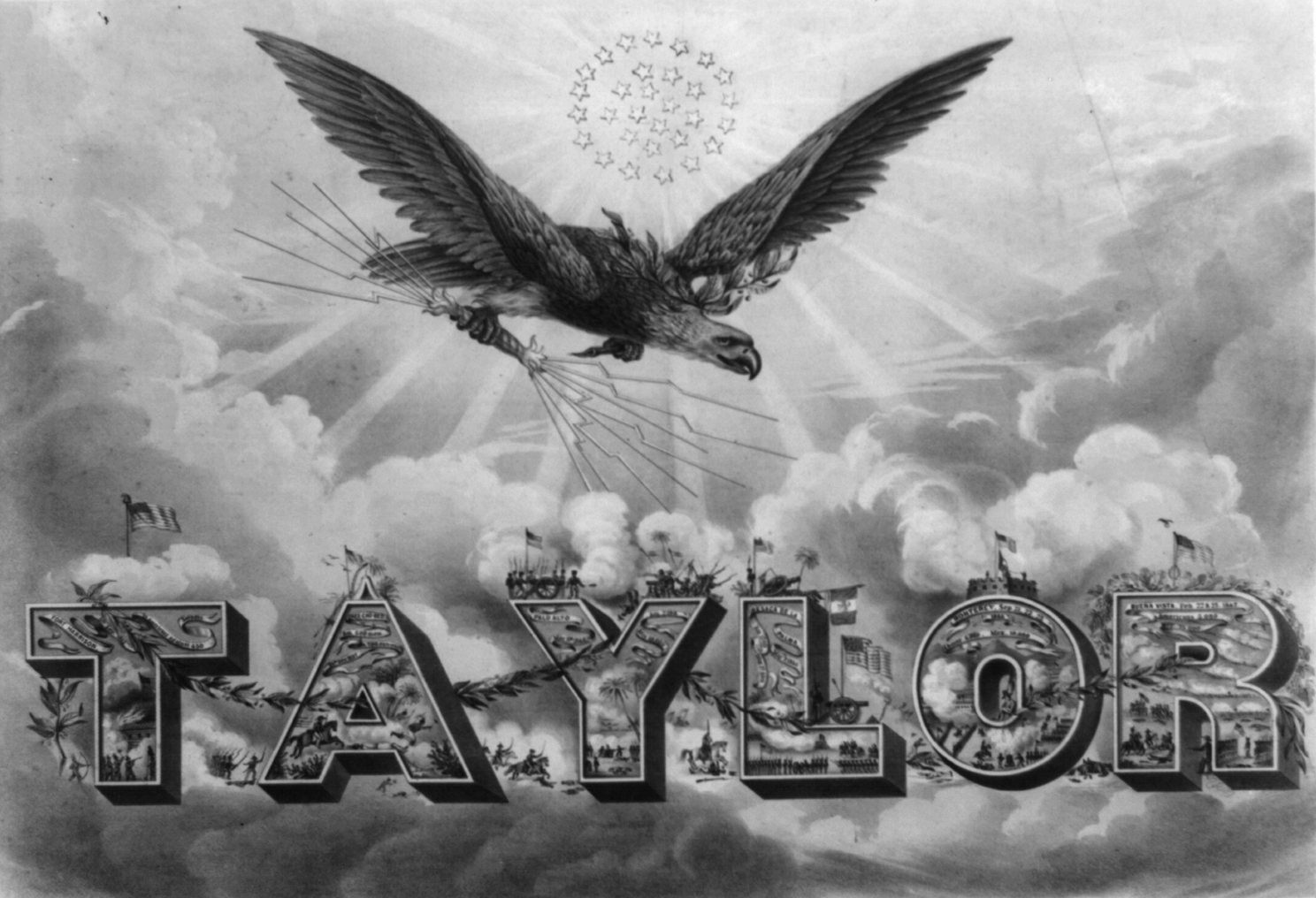 Eagles Soaring Over War Hero and 1848 Whig Candidate Zachary Taylor